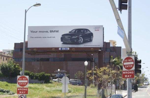Audi vs BMW Billboard Ad war
