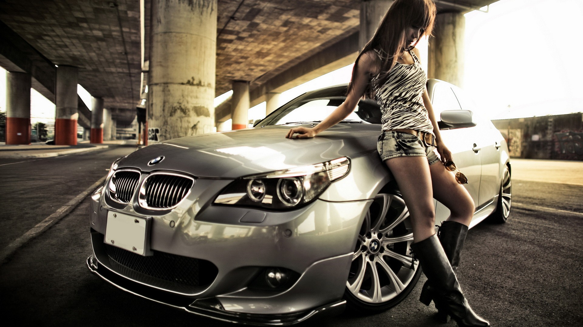 Girl and a bmw wallpaper   Wallpaper Wide HD