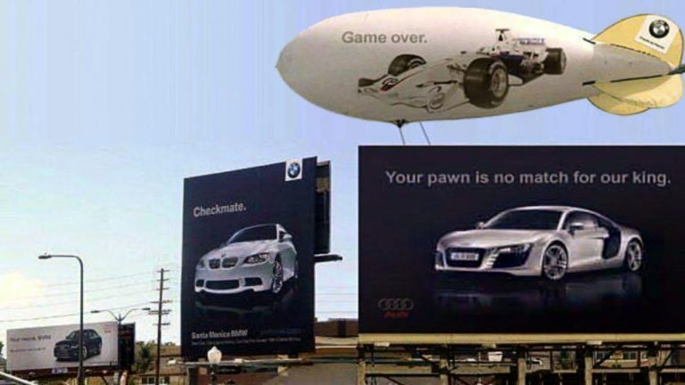 The Historic BMW Vs Audi Billboard Ad War In Pictures - Bmw vs audi