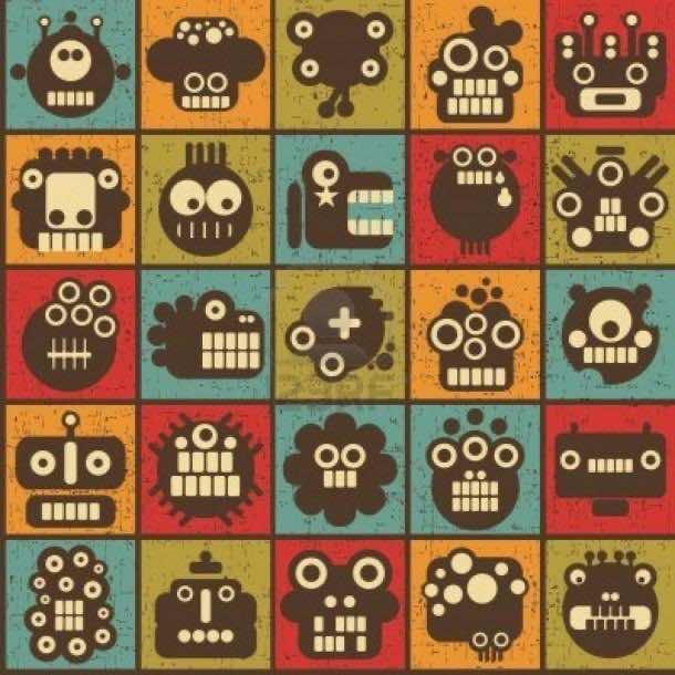 retro robot wallpaper 7