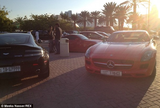 14 Aston Martin Vantage S and a Mercedes