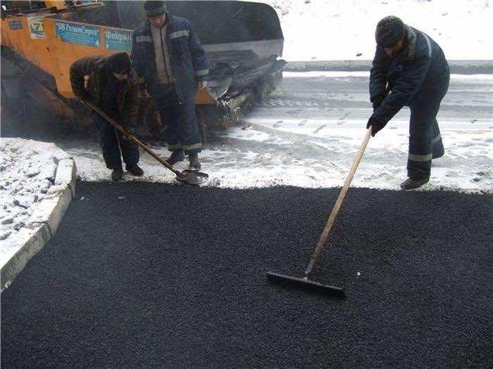Laying Asphalt on Snow 4