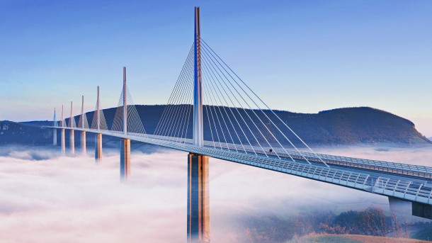 Fog Blowing under the Millau Viaduct