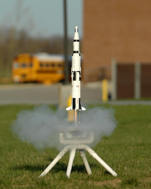 Model Rocket being launched