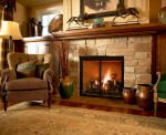 furniture by fireplace