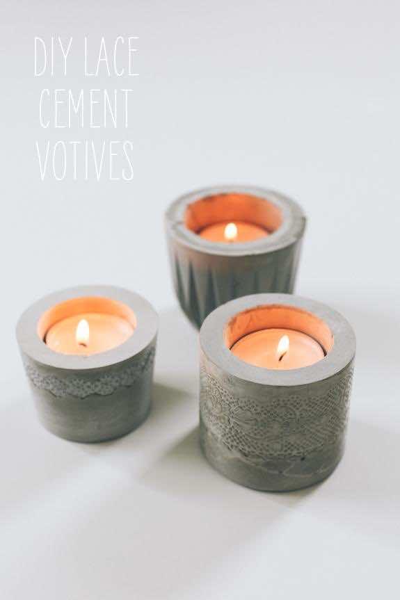 10. Cement candle votives