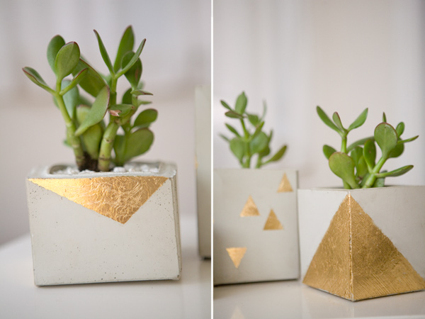 3. Gold-leaf cement planters