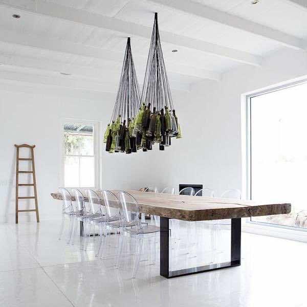 7. Wine bottle chandelier