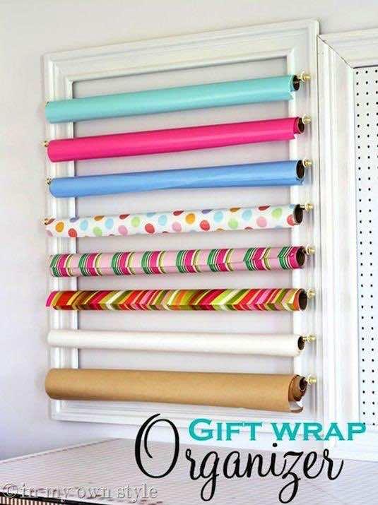 17. DIY Gift Wrap Organizer