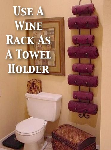 6. Wine Rack Towel Holder