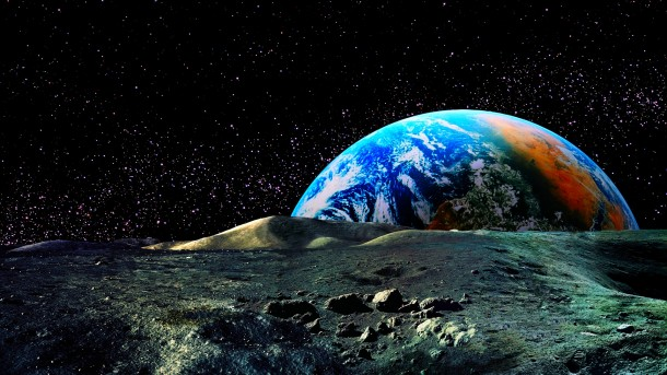 Planet Earth rising above lunar horizon in front of star filled sky