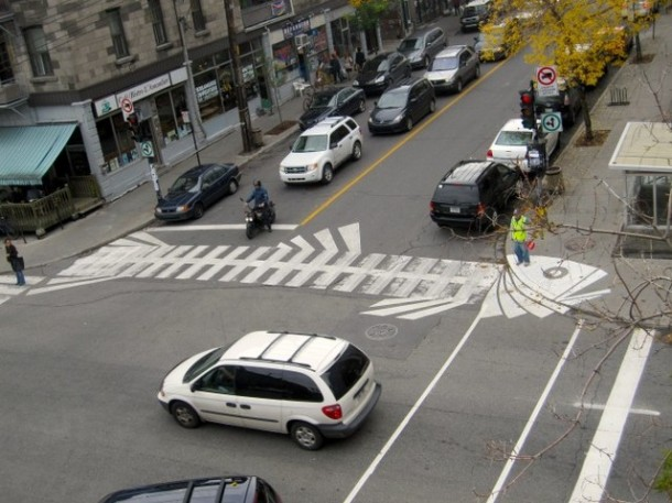 1. Fishbone crosswalk in Montreal, Canada