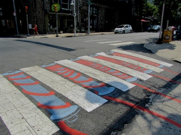 15. Yarn crosswalk in Philadelphia, U.S.