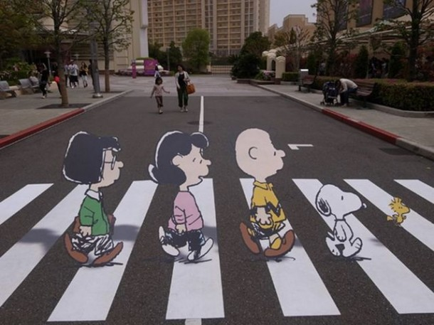 4. Peanuts Abbey Road crosswalk in Osaka, Japan