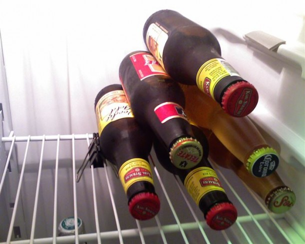 7. Binder clip to keep your bottles from toppling in the fridge