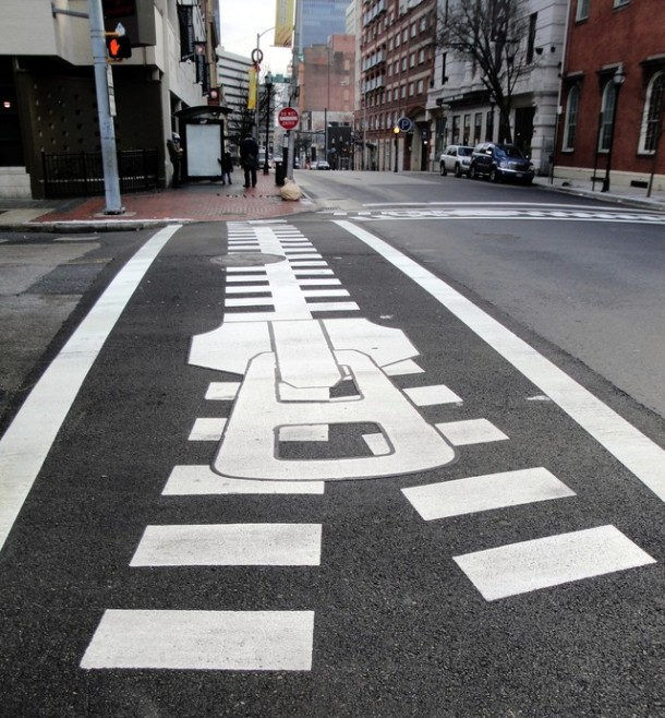 7. Zipper crosswalk in Baltimore, Maryland, U.S.