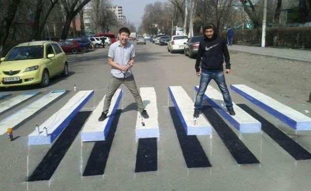 9. 3D crosswalk in Kyrgyzstan
