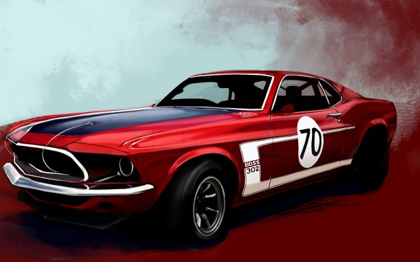 Lovely ... Drawn_wallpapers_Red_sports_car_013837_ ...