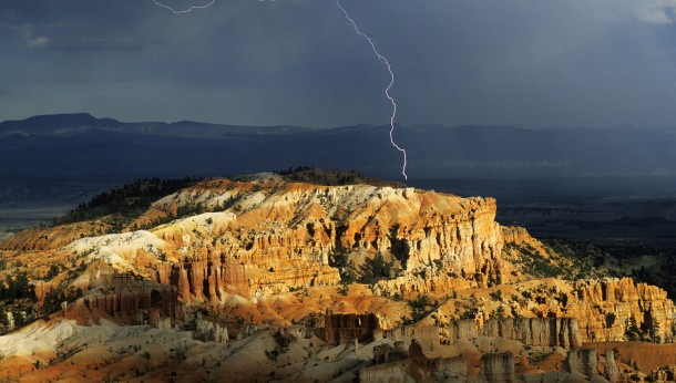 Lightning above hoodoos in Bryce Canyon National Park