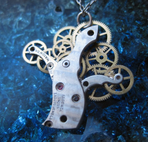 Recycled Watch Pendants (8)