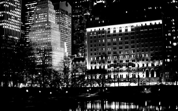 The Plaza Reflects on The Pond at Night