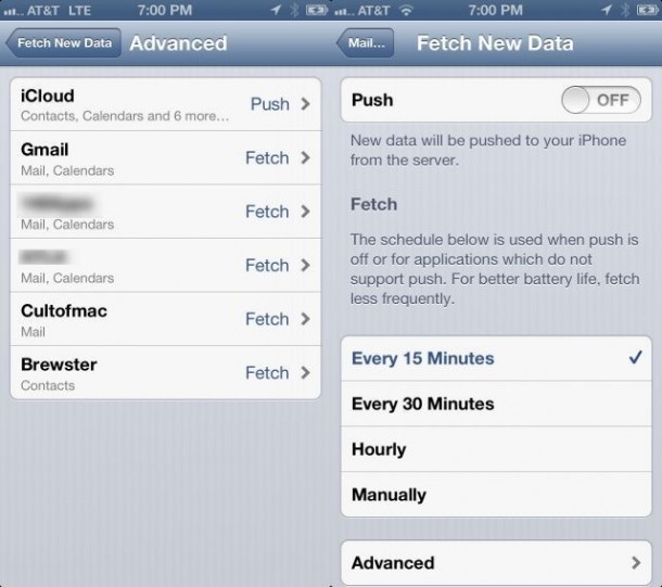 4. Disable Push Mail
