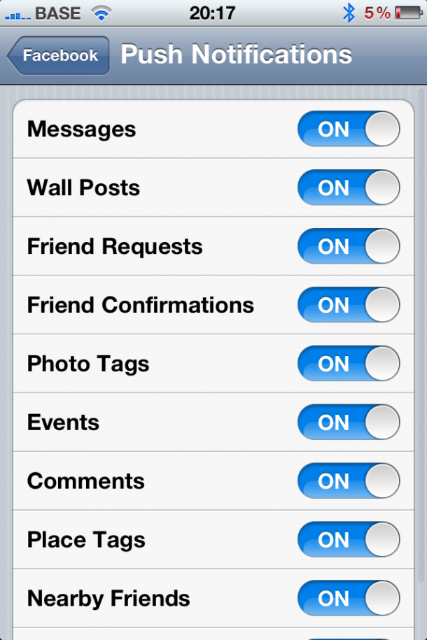 5. Turn Push notifications Off for Apps