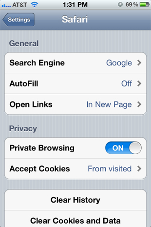 6. Private Browsing