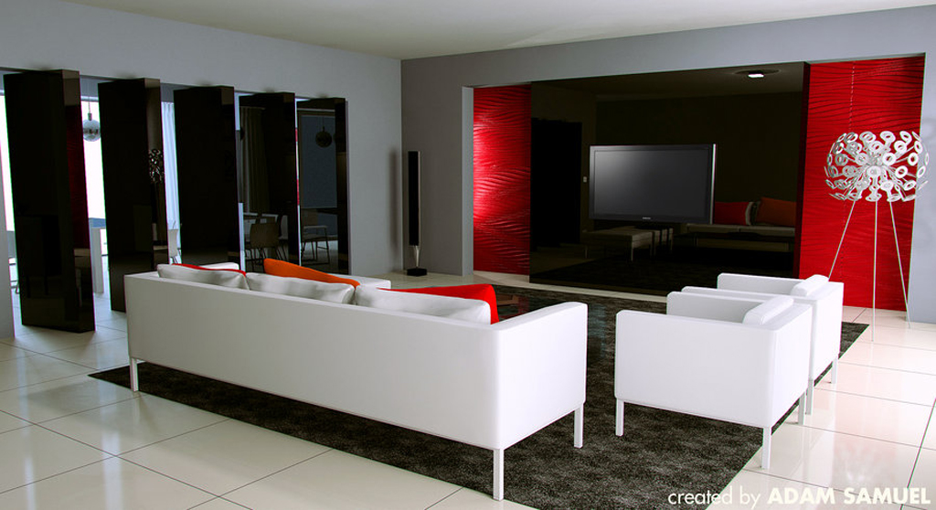 25 living room ideas for your home in pictures for Black red and grey living room