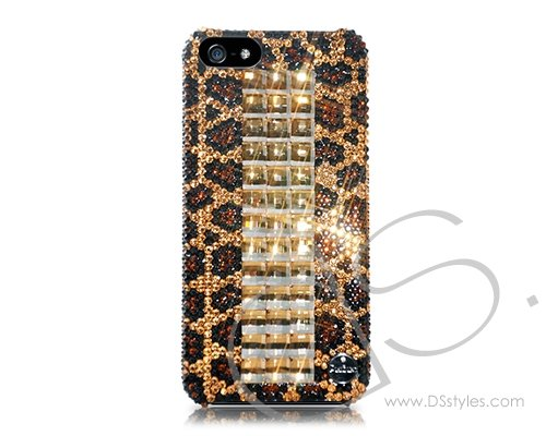 1. Cubical Leopardo Handcrafted Luxury Bling Swarovski Crystals Sparkling Full Glitter Rhinestones Back Snap-on Protective Hard Case Cover for iPhone 6