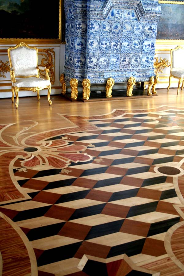 Parquet floor and Delft tile  fireplace