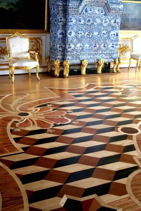 Parquet floor and Delft tile  fireplace