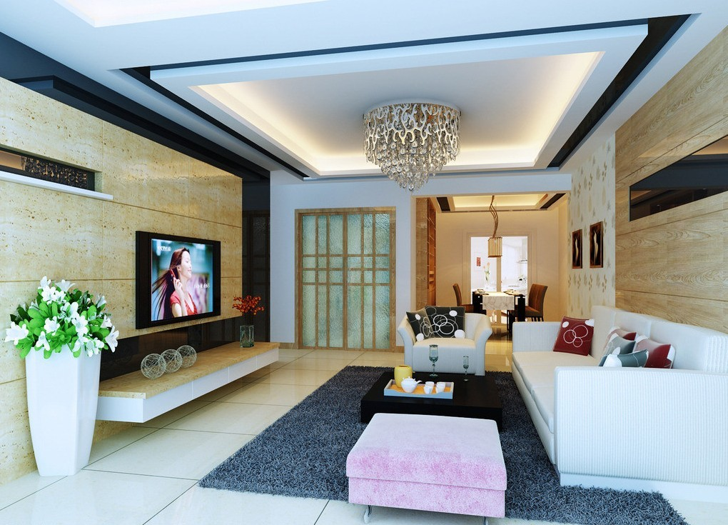 25 stunning ceiling designs for your home for Living room overhead lighting