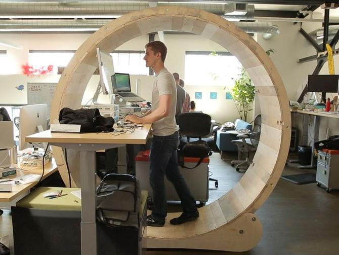 This Hamster Wheel Standing Desk Helps You Stay Fit At Work