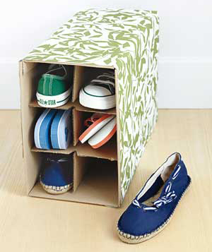 Wine box as shoe holder