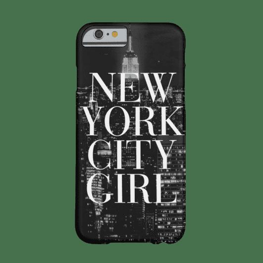 10. New York City Girl Black White Skyline Typography iPhone 6 Case