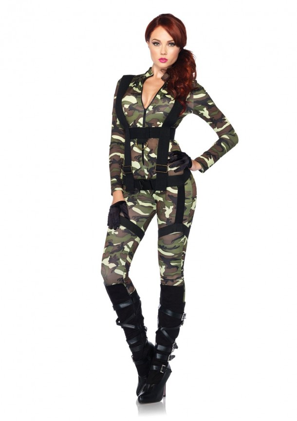 6. Leg Avenue Pretty Paratrooper Zipper Front Camo Jumpsuit and Body Harness
