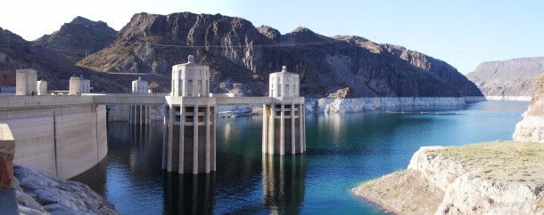 Panorama of Lake mead side of hoover dam