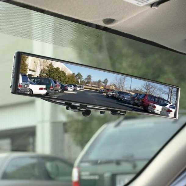 13. A rearview mirror with no blind spots