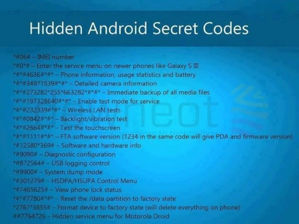32 Secret Codes for Android