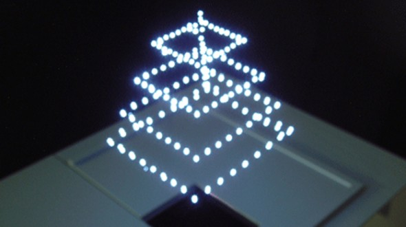Aerial Burton Projects 3D Image in Air in Daylight by Using Lasers