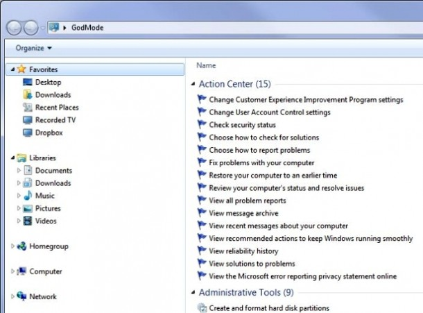 God Mode asWindows 7 Secret Features