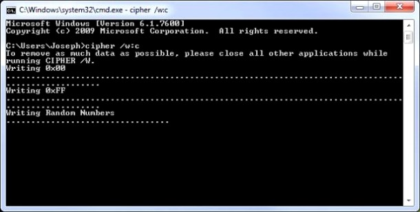 3. Wipe free disk space