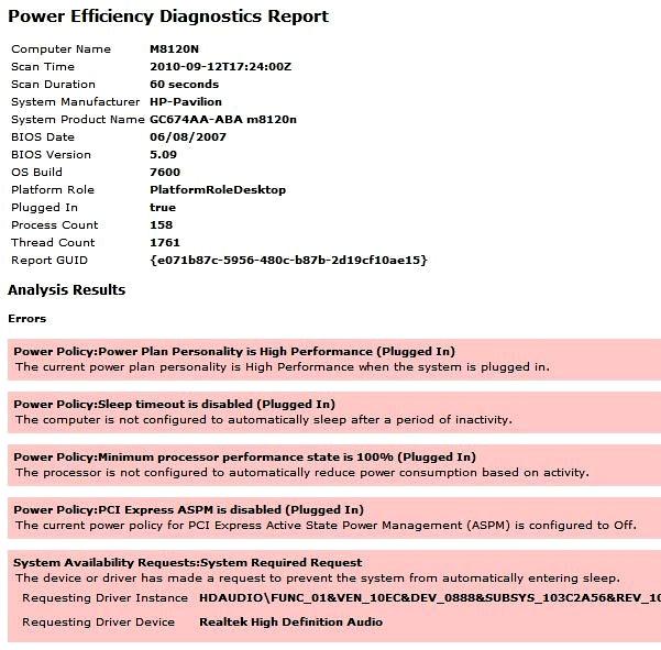 Power Efficiency Report