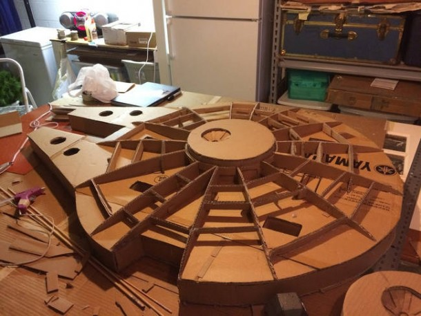 A Giant Millennium Falcon Created from Cardboard  2