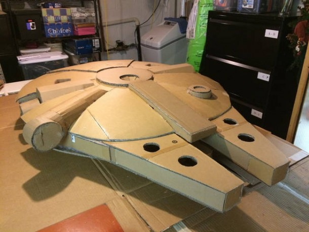 A Giant Millennium Falcon Created from Cardboard 4