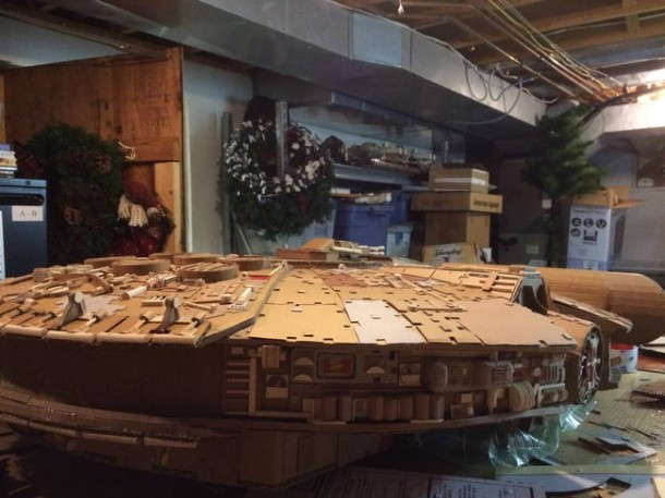 A Giant Millennium Falcon Created from Cardboard 5