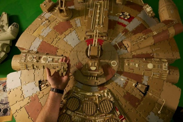 A Giant Millennium Falcon Created from Cardboard 7
