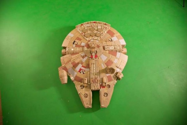 A Giant Millennium Falcon Created from Cardboard 9