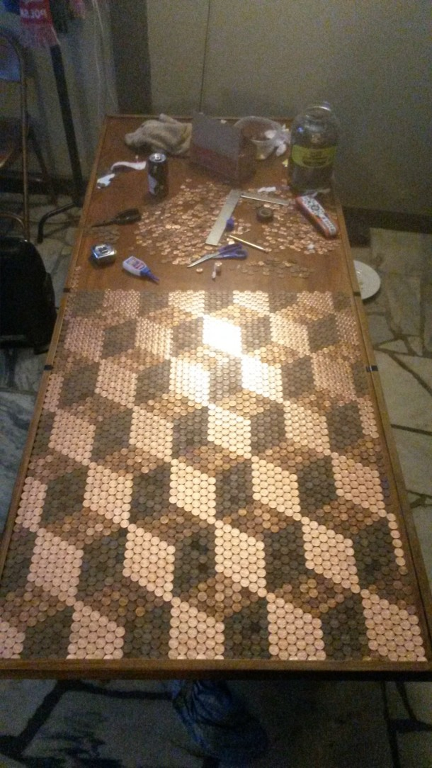 DIY Pennies Table – Amazing use of Pennies 10